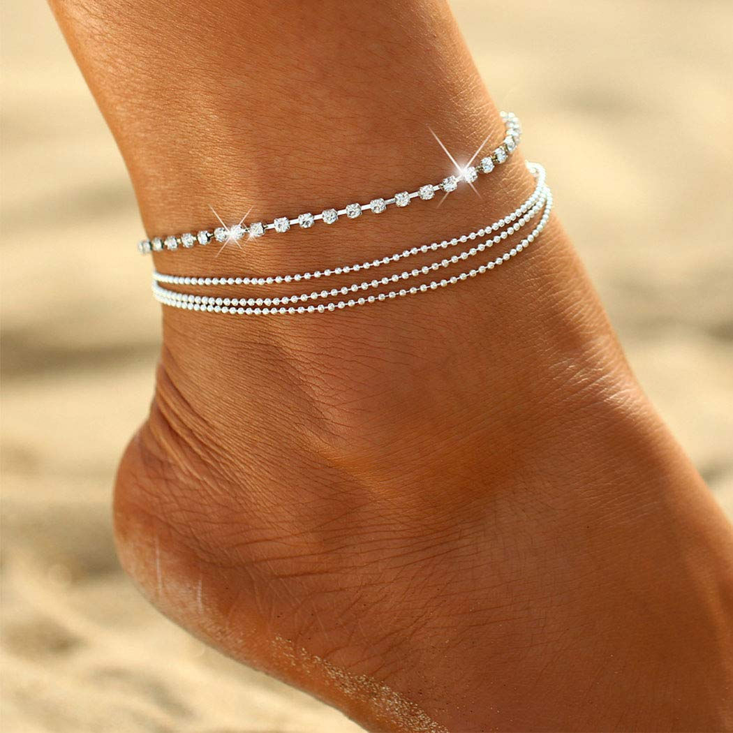 Earent Boho Layered Crystal Anklet Silver Rhinestone Ankle Bracelets Chain Beach Foot Jewelry Adjustable for Women and Girls