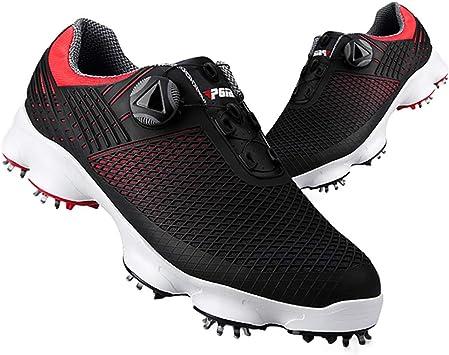GRASSAIR PGM Zapatillas de Golf para Hombre, Zapatillas de Deporte Impermeables de Malla Ligera con Cordones giratorios Respirable para Exterior e Interior,B,39: Amazon.es: Deportes y aire libre