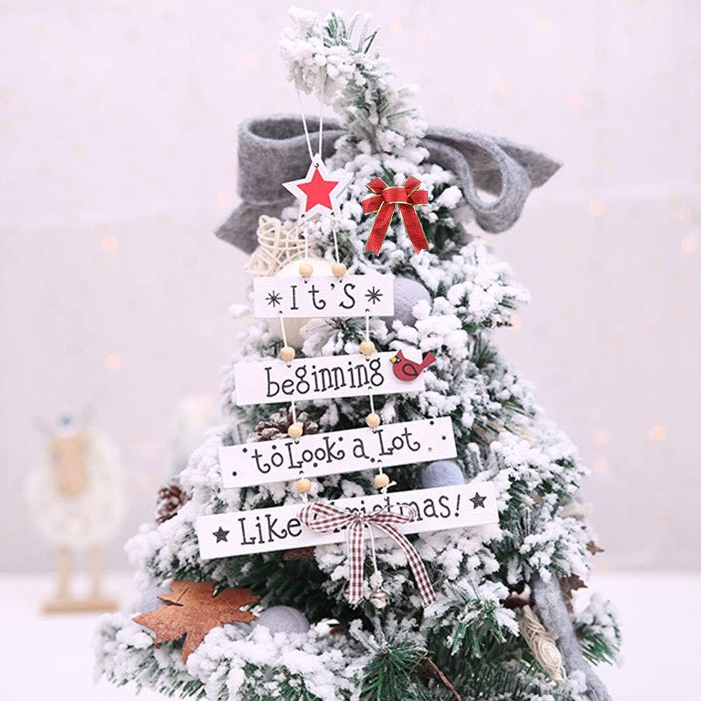 CDJX Colgante de Madera de Navidad 25,4 cm Incluye Cinta de Regalo de 2 m 2 Unidades con Cuerdas