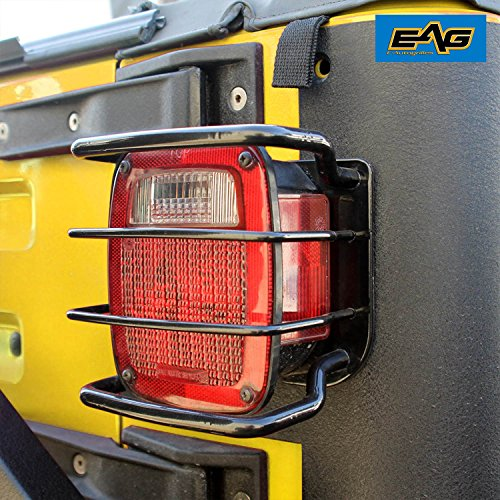 EAG 87-06 Jeep Wrangler TJ/YJ Black Textured Off Road Taillight Tail Light Guards Steel - Yj Jeep Tj