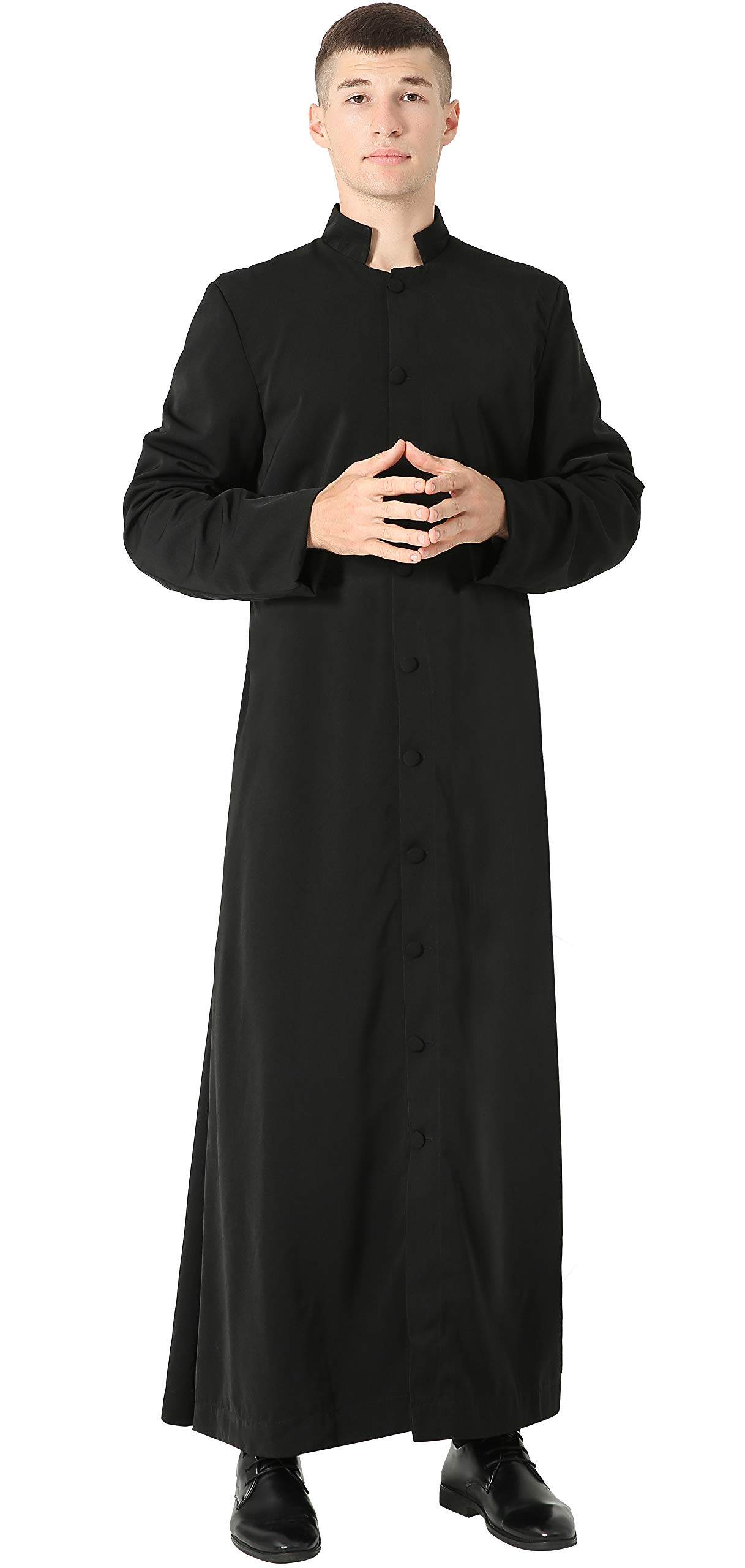 GraduatePro Clergy Roman Cassock Adults Liturgical Vestment Preacher Altar Server Style Single Breasted 3 Colors