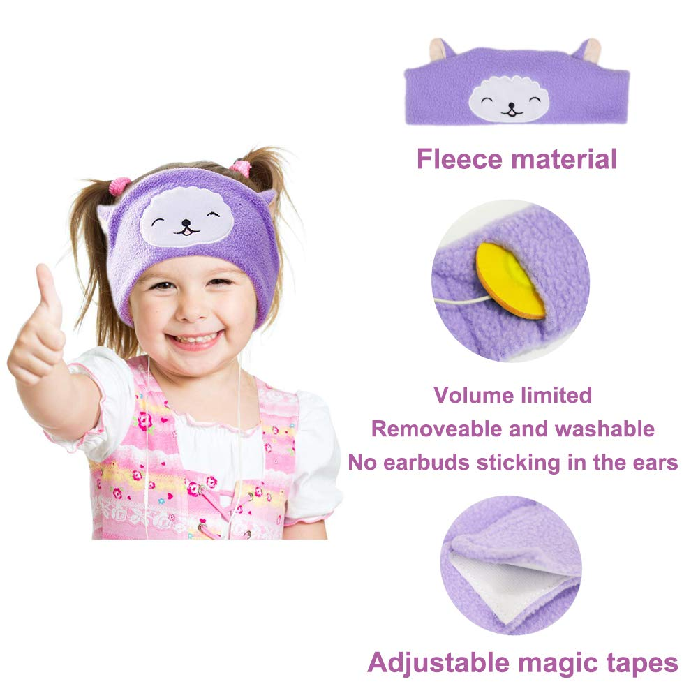 Volume Limiting with Ultra Thin Adjustable Speakers Soft Children Fleece Headband Cat Toddler Headphones for Home and Travel Kitten Kids Headphones