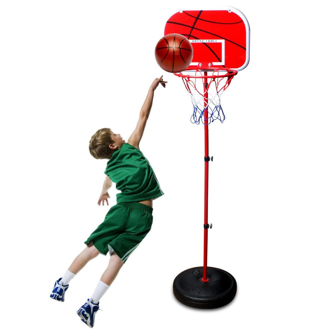 MICROFIRE Toddler Kids Basketball Hoop Magic Shot Hoop Indoor Basketballs Hoop Including Pump Set of 1 pcs of 4'' Balls and 1 Pump Red Adjustable Height Up to 60 inch by MICROFIRE