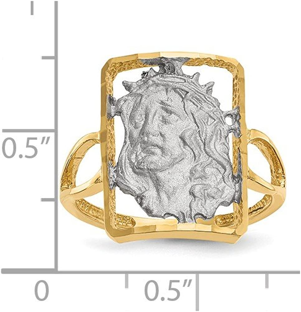 Mia Diamonds 14k Yellow Gold with White Rhodium Polished and Satin Jesus Ring