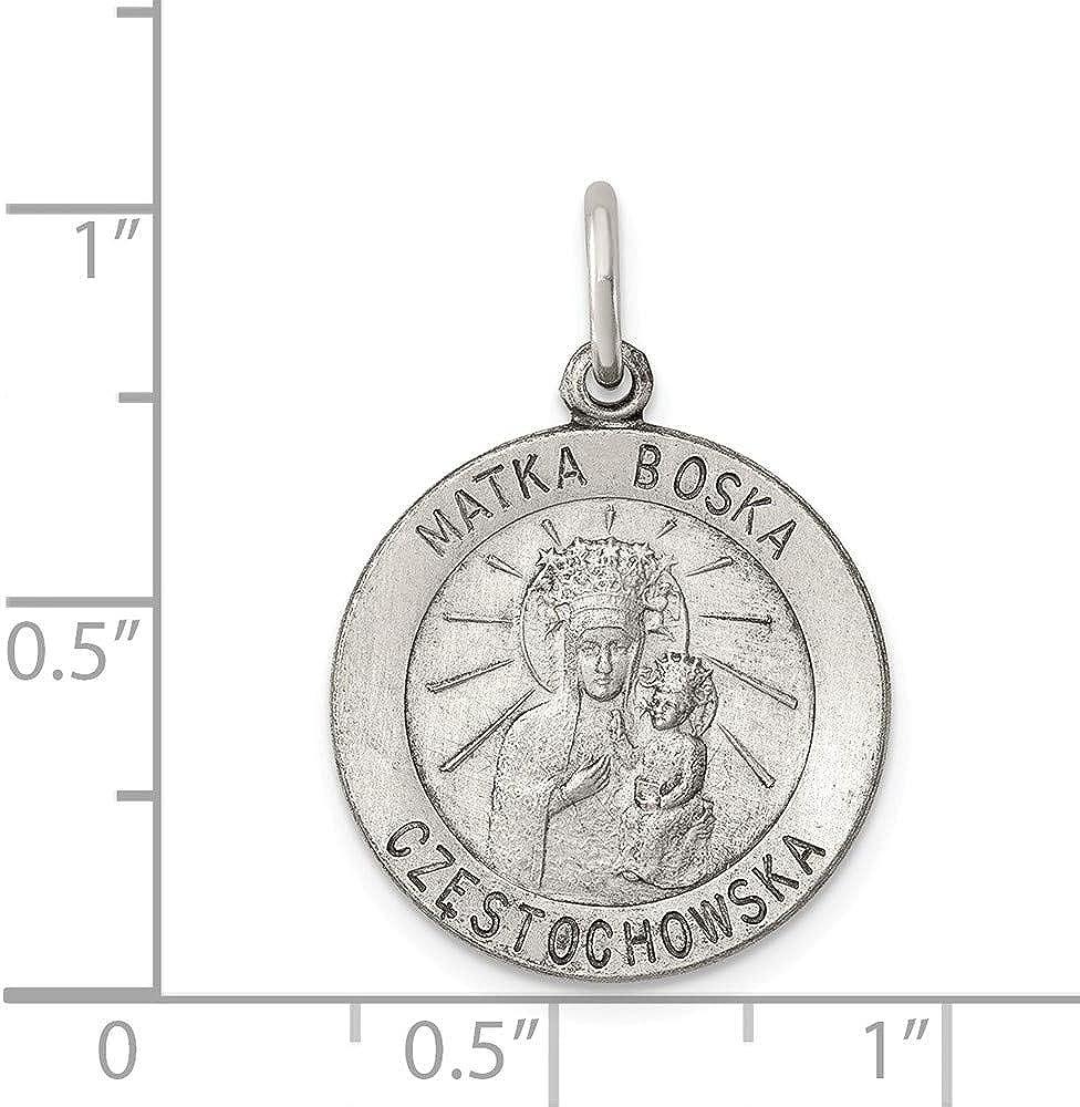Solid 925 Sterling Silver Vintage Antiqued Matka Boska Pendant Charm Medal 25mm x 18mm