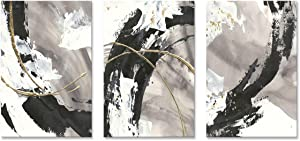 Black and White Canvas Art Wall Decor for Bedroom Framed Abstract 3 Piece Gold Gray Print Painting Modern Artwork 12x16in x3