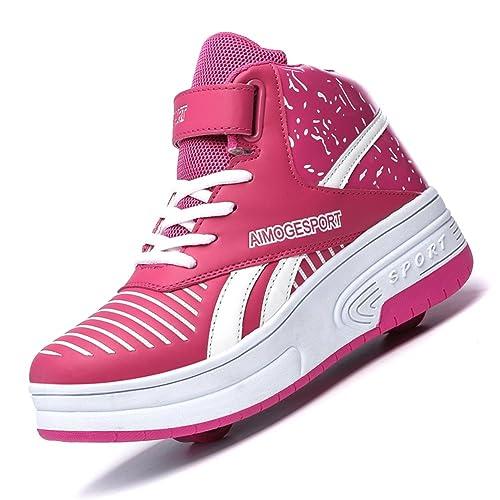 XiaoYouYu Zapatillas con Rueda para Niñas Niños Adultos Rosa con Dos Ruedas, EU 36: Amazon.es: Zapatos y complementos