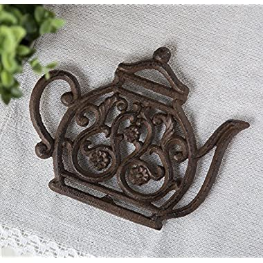 Cast Iron Trivet | Vintage Tea Pot | Decorative Cast Iron Trivet For Kitchen Or Dining Table | 7.7x6.3  | With Rubber Legs | by Comfify CA-1504-11-BR