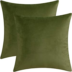 """Artcest Set of 2 Decorative Velvet Throw Pillow Cases, Soft Solid Cushion Covers for Sofa Couch and Bed, 18""""x18"""" (Sage Green)"""