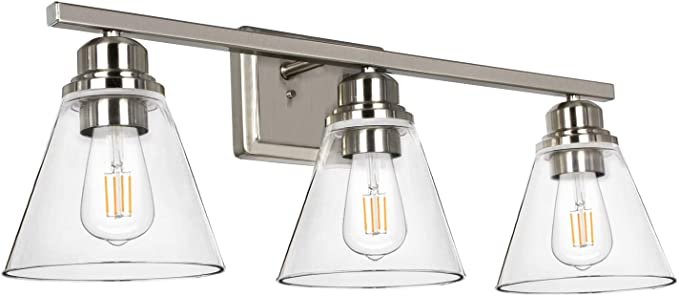 3 Light Bathroom Light Brushed Nickel Vanity Light Fixtures Bathroom Wall Sconce Lighting With Clear Glass Shades Etl Listed Home Improvement Amazon Com