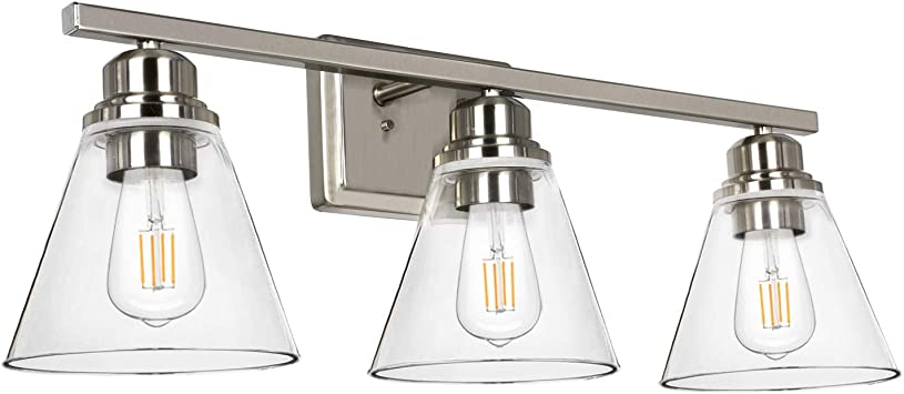 Amazon Com 3 Light Bathroom Light Brushed Nickel Vanity Light Fixtures Bathroom Wall Sconce Lighting With Clear Glass Shades Etl Listed Bulb Not Included Home Improvement
