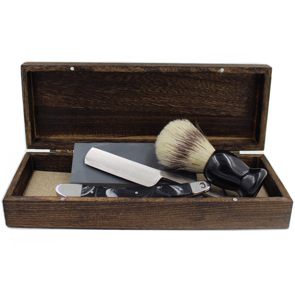 Vintage Cut Throat Straight Razor Black Silver Handle Bristle Shaving Brush Natural Whetstone and Wooden Box Set with Gift Bag