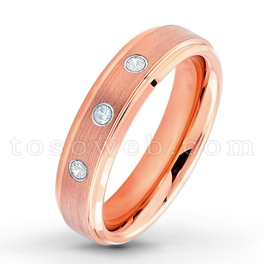 Ladies 0.21ctw Aquamarine & Diamond 3-Stone WeddingBand, March Birthstone Ring, Rose Gold Plated Brushed Center High Polish Stepped Edge Comfort Fit Tungsten Carbide Anniversary Ring-s10