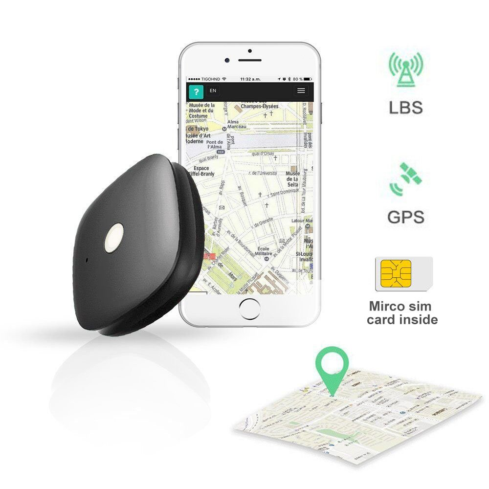 KEYNICE GPS Tracker Luggage Tracker GPS Locator GSM 2G Network Real-time Tracking Monitoring Outdoor Handheld GPS Unit Mini Finder for the Elderly Kids Pet Car Motorcycle by App Control - Black