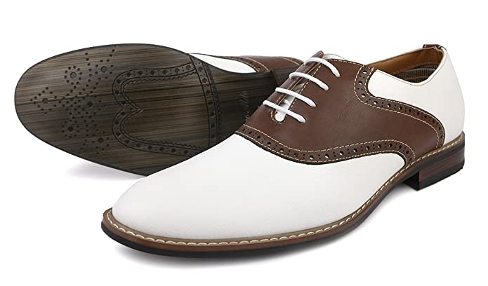 Mens Vintage Style Shoes| Retro Classic Shoes Two Tone Saddle Oxfords Brown $34.99 AT vintagedancer.com