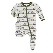 Kickee Pants Little Boys Print Footie with Zipper - Natural Tractor and Grass, 3-6 Months