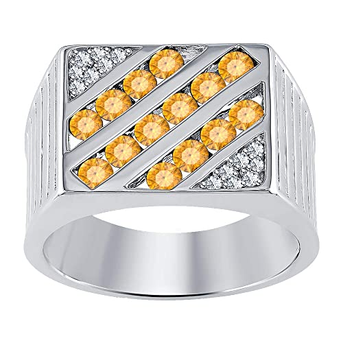 RUDRAFASHION 14k Yellow Gold Plated Round Cut Orange Sapphire 925 Sterling Silver Mens Anniversary Band Ring