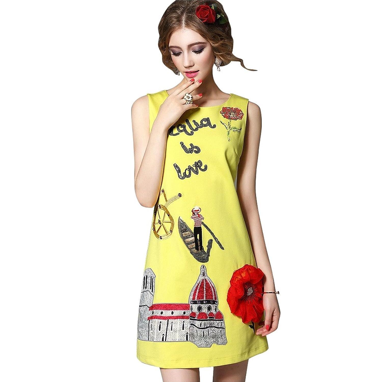 Yellow Dress Elegant Embroidery Paillette Vestidos Cute Dress