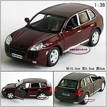 1:38 Wine Red mini PORSCHE Cayenne Turbo alloy Die Cast model Pull Back Car