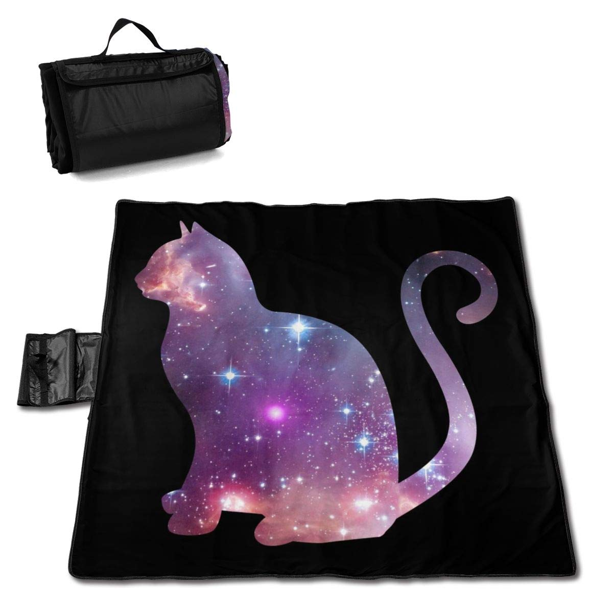 Socira Space Kitty Large Picnic Blanket Water Resistant Beach Blanket Machine Washable Outdoor Blanket Folds Into A Tote Bag by Socira