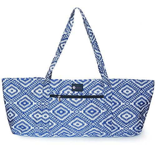 Aurorae Yoga Tote Bag, Extra Wide to Fit Most Yoga Mats and Accessories, in a Geometric Blue Coated Woven Pattern
