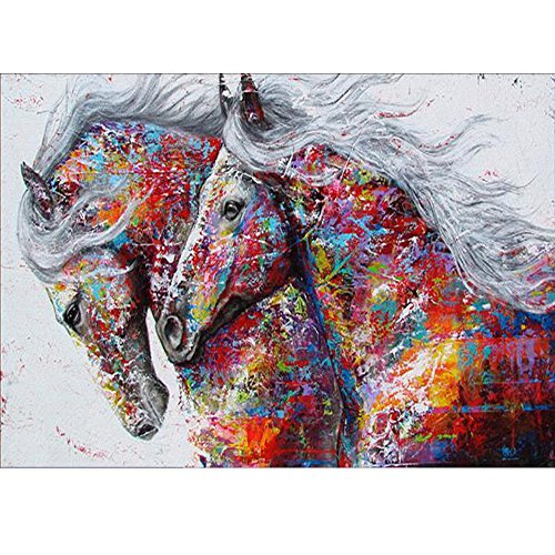 by Number Kit DIY Crystal Rhinestone Cross Stitch Embroidery Arts Craft Picture Supplies for Home Wall Decor,Colored Horses-12x16In ()