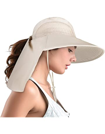 96b62a8fa60f7 camptrace Safari Sun Hat Wide Brim Fishing Hat with Neck Flap for Women  Ponytail Packable UPS