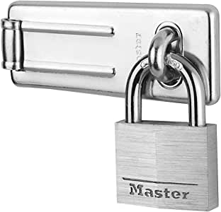 Master Lock Hasp Lock, Chrome Plated Steel Hasp, Best Used as a Gate Lock, Shed Lock, Cabinet Lock and More
