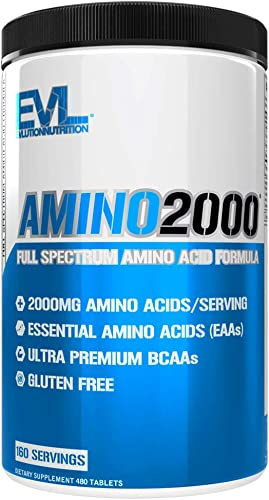 Evlution Nutrition Amino 2000 Tablets – 2 Grams of Amino Acids Essential for Performance, Recovery, Endurance, Muscle Building, Keto Friendly, No Sugar, No Stimulants 480 Tablets, 160 Servings