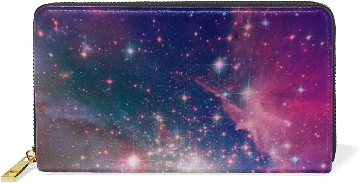 MAPOLO Far Away Galaxy Print Womens Clutch Purses Organizer And Handbags Zip Around Wallet