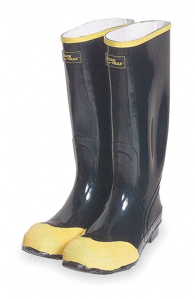 16''H Men x27;s Knee Boots, Steel Toe Type, Rubber Upper Material, Black, Size 12