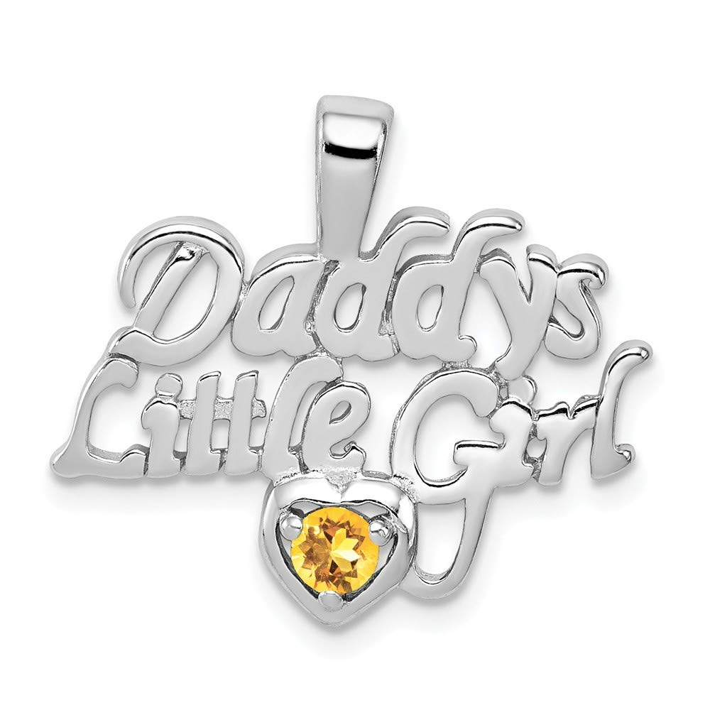 20mm x 22mm Solid 925 Sterling Silver Golden Yellow Orange Simulated Citrine Daddys Little Girl Pendant