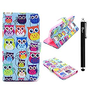 Galaxy S6 Case, [Stand Feature] Alip Flip Wallet Leather Cover with Credit Card ID Holders For S6 + Stylus [Multicolor-Owl]