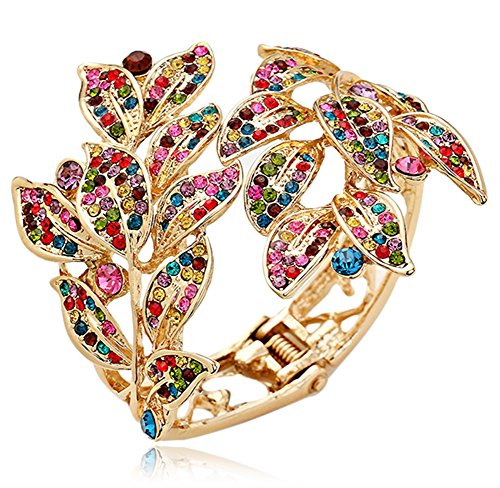 Elegant Gold Tone Multicolor Crystal Embellished Autumn Leaves Bangle Bracelet for Bridal, Proms, Pageants, Parties from Glamour Girl Gifts