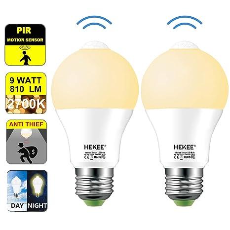 Motion Sensor Light Bulb Dusk to Dawn LED Light Bulbs 9W A19 PIR Built-in IR 60W Equivalent Bright 810 Lumens E26 Base Warm White Bulbs(2 Packs) - - Amazon. ...