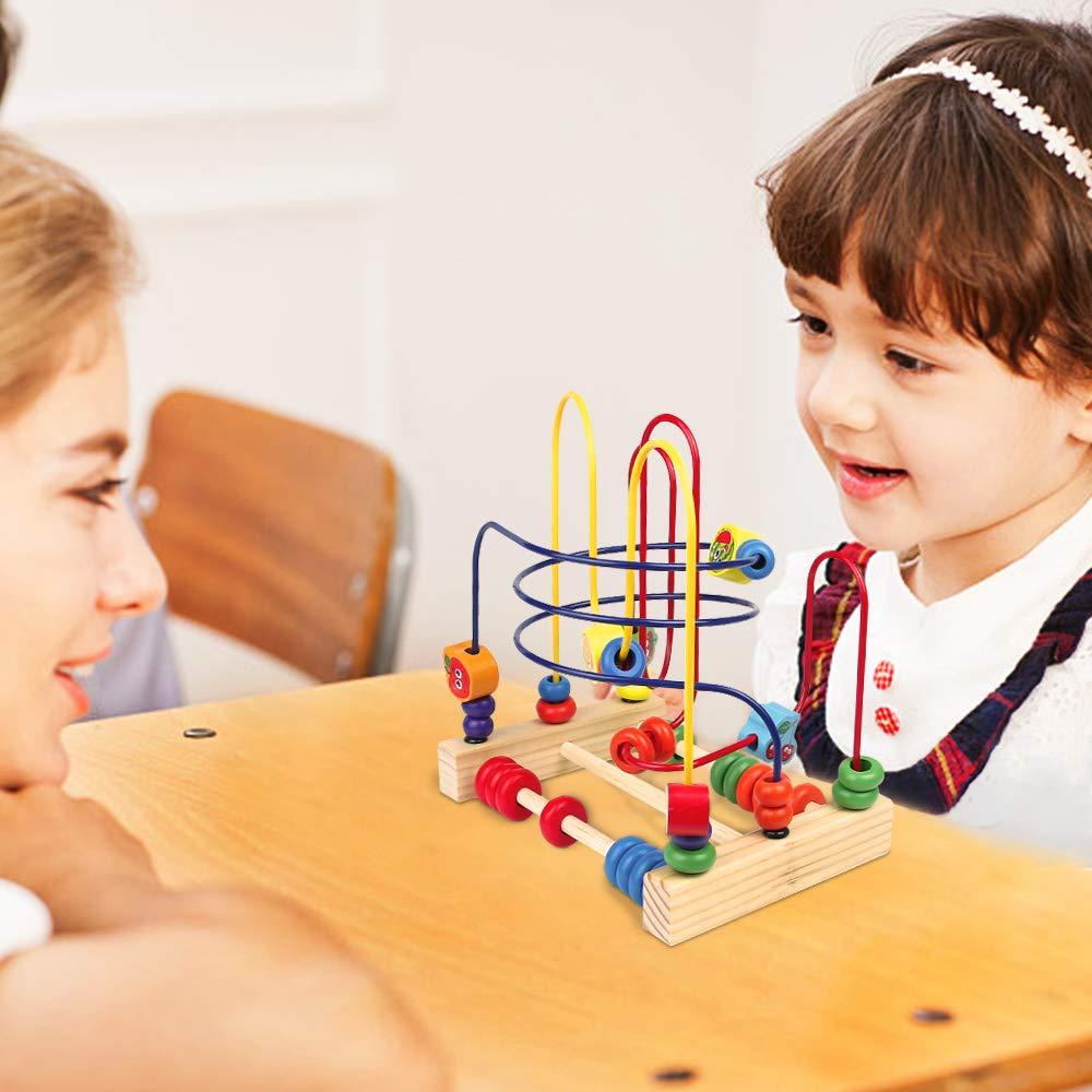 Mehrweg yoptote Motorikspielzeug Holzspielzeug Perlen-Labyrinth Roller Coaster Spiel Motorikschleife aus Holz F/ür Kinder ab 3 Jahren Insect Beads Maze
