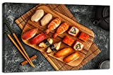 Yiijeah Canvas Wall Art Picture Print Painting Decor for Kitchen Dining Room Restaurant Decoration Sushi Food Picture Large Modern Artwork for Living Room Home Hotel 24x36in With Frame