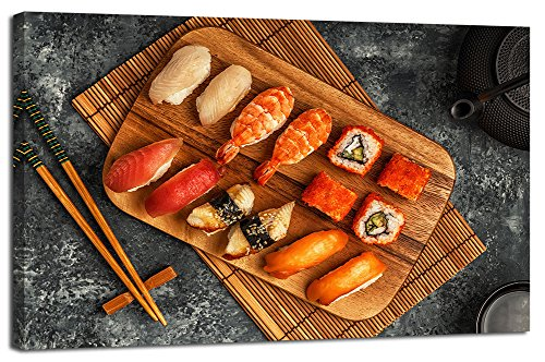 Yiijeah Sushi Canvas Wall Art Picture Print Painting Decor for Kitchen Dining Room Restaurant Decoration Japanese Cate Food Picture Large Modern Artwork for Living Room Home Hotel 24x36in with Frame