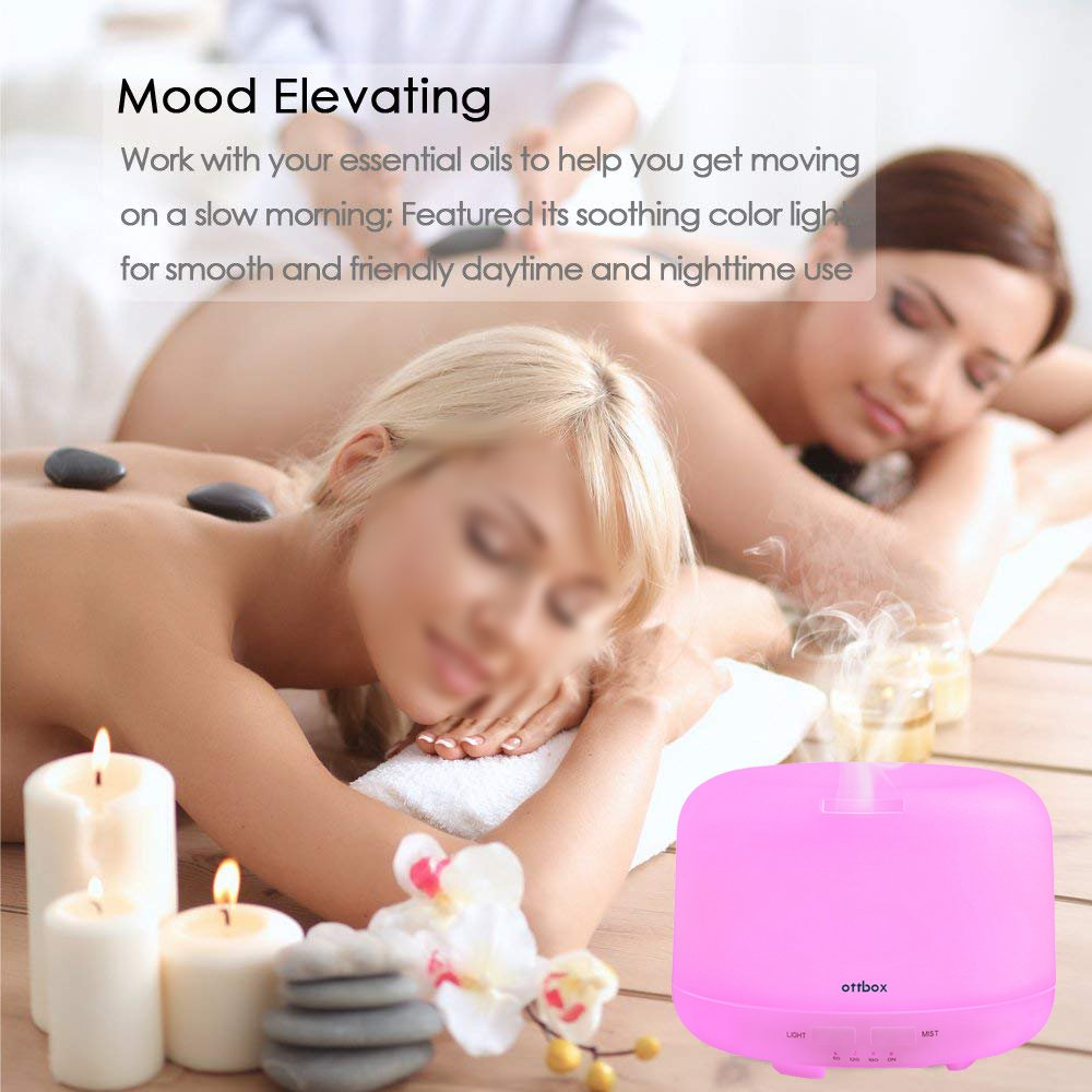 OTTBOX 400ml Aromatherapy Essential Oil Diffuser Cool Mist Humidifier with 7 Color Auto Shut-off