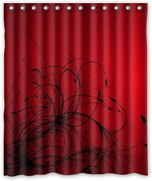 Amazon Com Daringone Fabric Stall Shower Curtain 36 X 72 Inch For Bathroom Set Red Black Flower Abstract Wallpaper Shower Curtain Waterproof Fabric For Bathroom With Hooks Home Kitchen