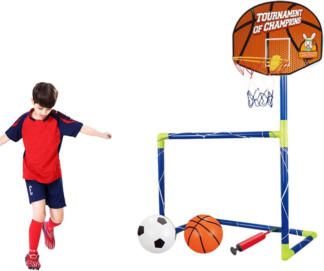 Likecom 120cm 2en 1Portería de Fútbol + Canasta Juego Porterías Bomba Cesta Regalo Infantil Jardín Juegos