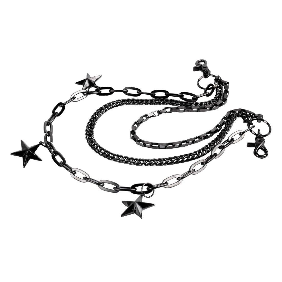 Uniqsum Big 3 Star wallet chain Swivel Trigger snap Triple Biker Punk Key chain
