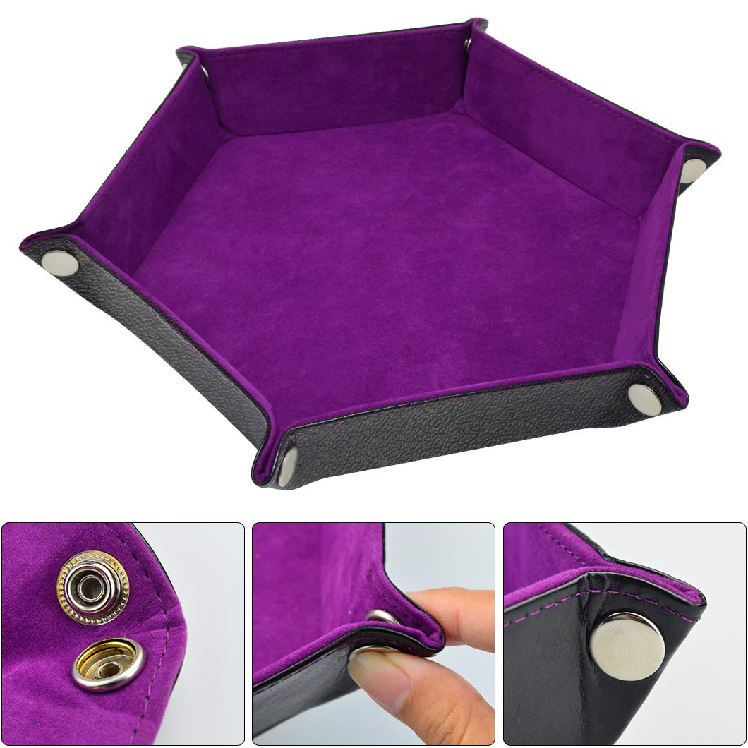 Yolyoo Double Sided Dice Tray PU Leather Folding Hexagon Tray with Purple Velvet for RPG DND or Other Dice Games and Storage