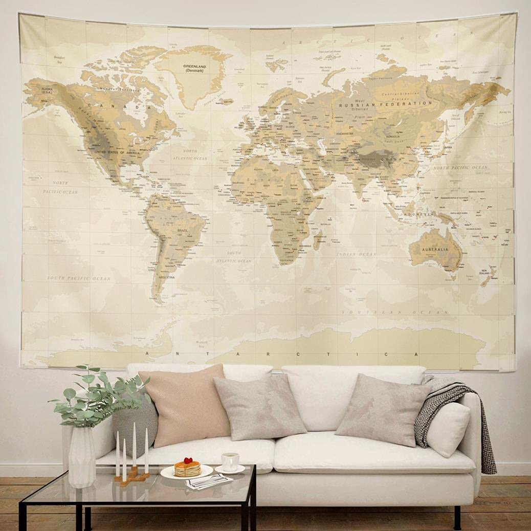 Summor Map Tapestry World 92 X 70 Inch Wall Tapesry for Bedroom Vintage Asia Europe South City Topography America Africa Japan Large Tapestry Wall Art for Dorm Decor Living Room Wall Haning