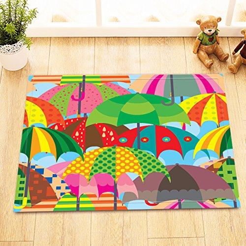 LB Colorful Cartoon Umbrella Clip Art Decor Small Rugs for Bathroom Bedroom, Anti Skip Rubber Backing Comfortable Soft Surface, Umbrella Printed Bathroom Decor 15 x 23 Inches -