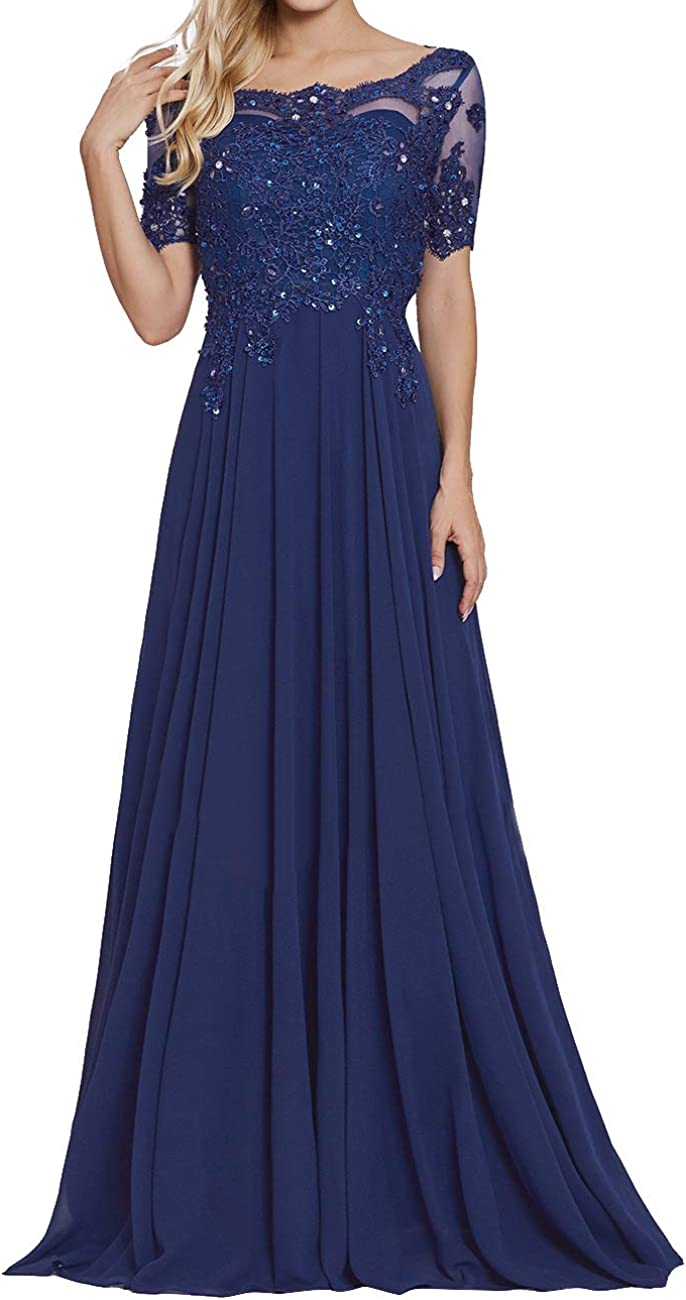 Formal Evening Dress A Line Chiffon Wedding Guest Prom Dresses Gown Navy  Blue US6W