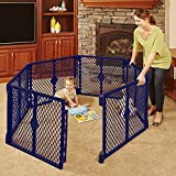 BLUE Portable 6-panel Baby play yard (indoor & outdoor) Comes complete with skid-resistant pads by North States