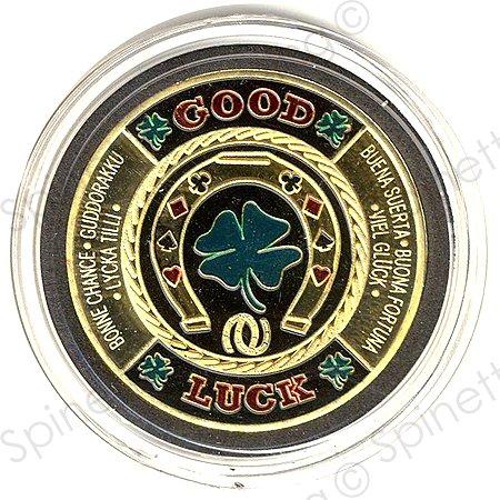 Horseshoe/Clover Leaf Gold Poker Card Guard (Gold Poker Chip)