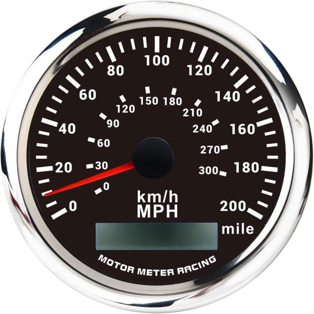 MOTOR METER RACING W Pro Indicator GPS Speedometer Odometer Waterproof for Car Boat Truck Black Double Dial White LED Included GPS Sensor