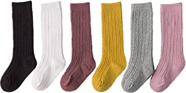 Baby Girl Knee High Socks Cable Knit with Ruffle Available in Multiple Colors and Sizes